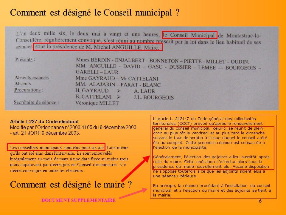 6 Article L227 du Code électoral Modifié par lOrdonnance n°2003-1165 du 8 décembre 2003 - art. 21 JORF 9 décembre 2003. Les conseillers municipaux son