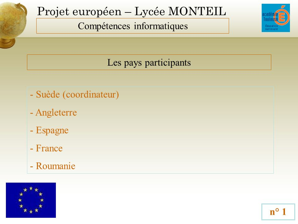 Projet européen – Lycée MONTEIL Compétences informatiques n° 1 Les pays participants - Suède (coordinateur) - Angleterre - Espagne - France - Roumanie