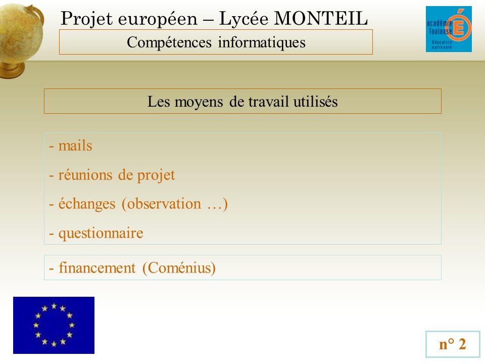 Projet européen – Lycée MONTEIL Compétences informatiques n° 3 Les partenaires français - Crédit Agricole - Inforsud - KPMG - Leclerc - Aveyron Expansion - RAGT - IUFM Midi Pyrénées