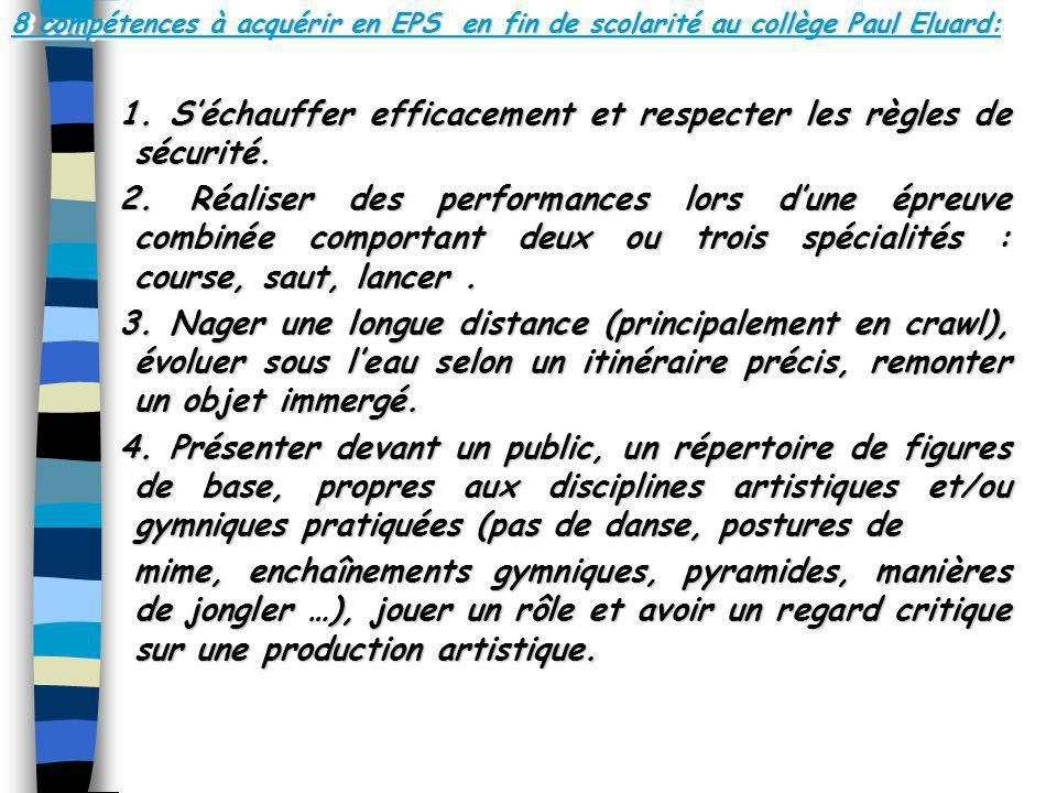 8 compétences à acquérir en EPS en fin de scolarité au collège Paul Eluard: 1. Séchauffer efficacement et respecter les règles de sécurité. 2. Réalise