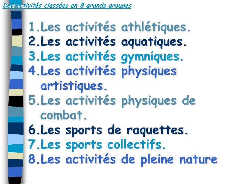 Des activités classées en 8 grands groupes 1.Les activités athlétiques. 2.Les activités aquatiques. 3.Les activités gymniques. 4.Les activités physiqu