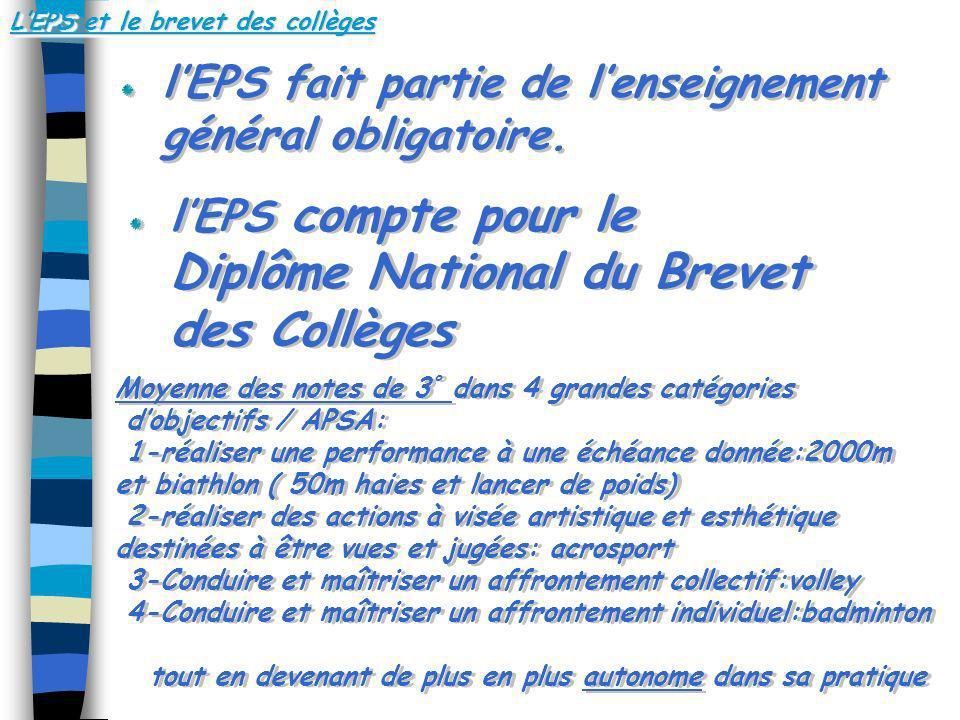 LEPS et le brevet des collèges lEPS fait partie de lenseignement général obligatoire. lEPS compte pour le Diplôme National du Brevet des Collèges Moye