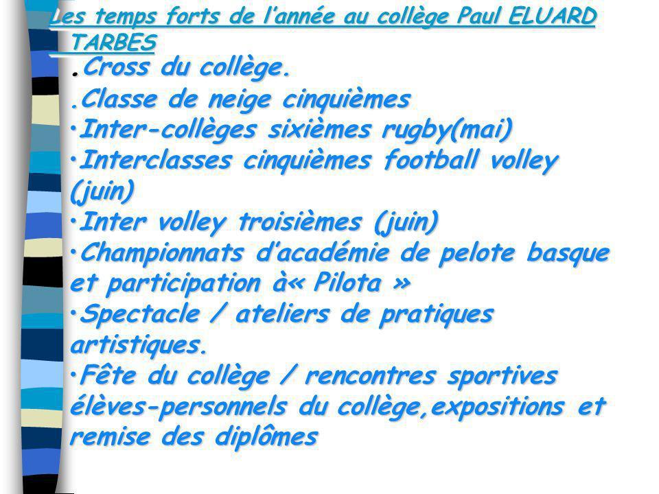 Les temps forts de lannée au collège Paul ELUARD TARBES. Cross du collège..Classe de neige cinquièmes Inter-collèges sixièmes rugby(mai)Inter-collèges