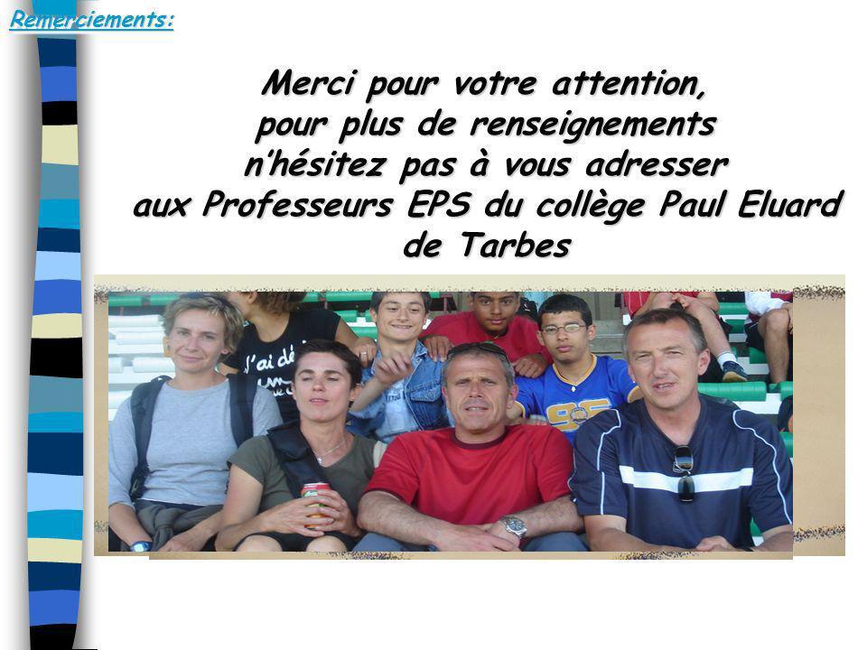 Remerciements:Remerciements: Merci pour votre attention, pour plus de renseignements nhésitez pas à vous adresser aux Professeurs EPS du collège Paul