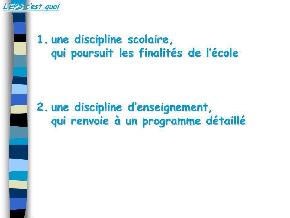 1.une discipline scolaire, qui poursuit les finalités de lécole 2.une discipline denseignement, qui renvoie à un programme détaillé LEPS cest quoi