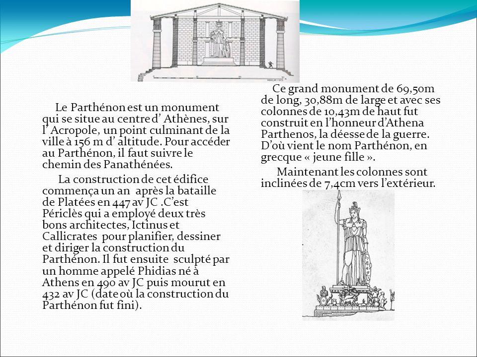 Le Parthénon est un monument qui se situe au centre d Athènes, sur l Acropole, un point culminant de la ville à 156 m d altitude.