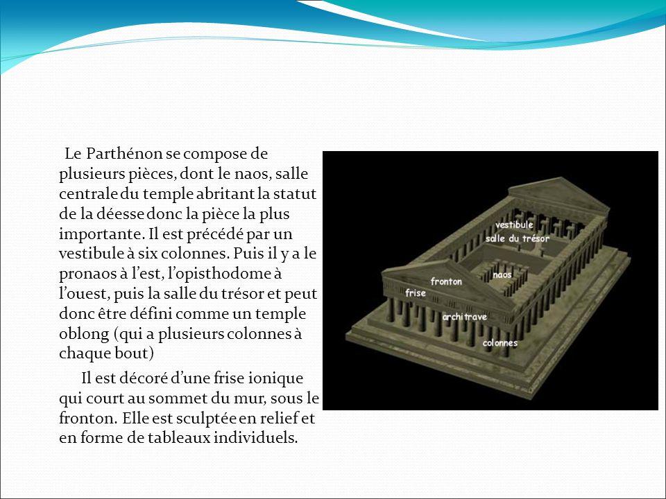 Le Parthénon se compose de plusieurs pièces, dont le naos, salle centrale du temple abritant la statut de la déesse donc la pièce la plus importante.