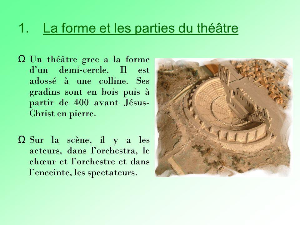 1.La forme et les parties du théâtre Ω Un théâtre grec a la forme dun demi-cercle.