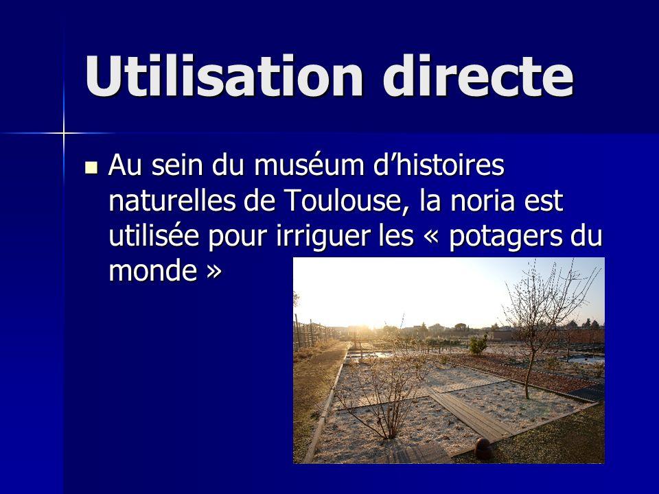 Utilisation directe Au sein du muséum dhistoires naturelles de Toulouse, la noria est utilisée pour irriguer les « potagers du monde » Au sein du musé