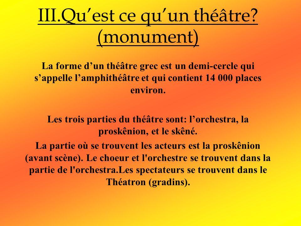 III.Quest ce quun théâtre? (monument) La forme dun théâtre grec est un demi-cercle qui sappelle lamphithéâtre et qui contient 14 000 places environ. L