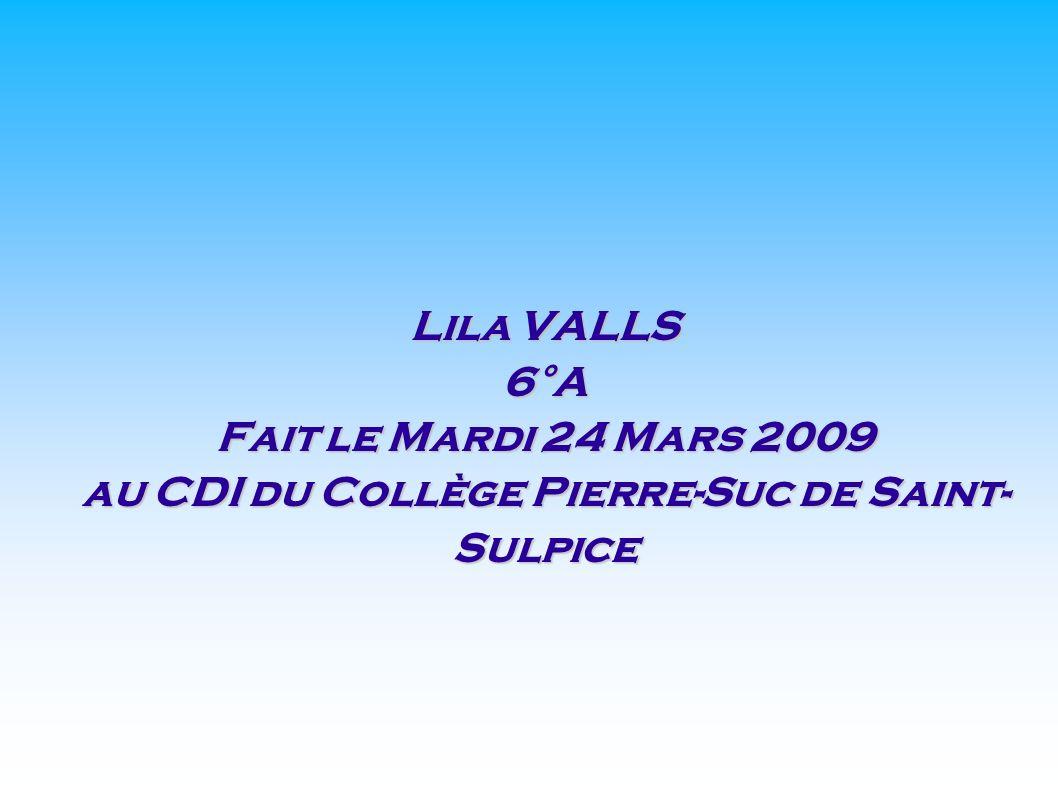 Lila VALLS 6°A Fait le Mardi 24 Mars 2009 au CDI du Collège Pierre-Suc de Saint- Sulpice