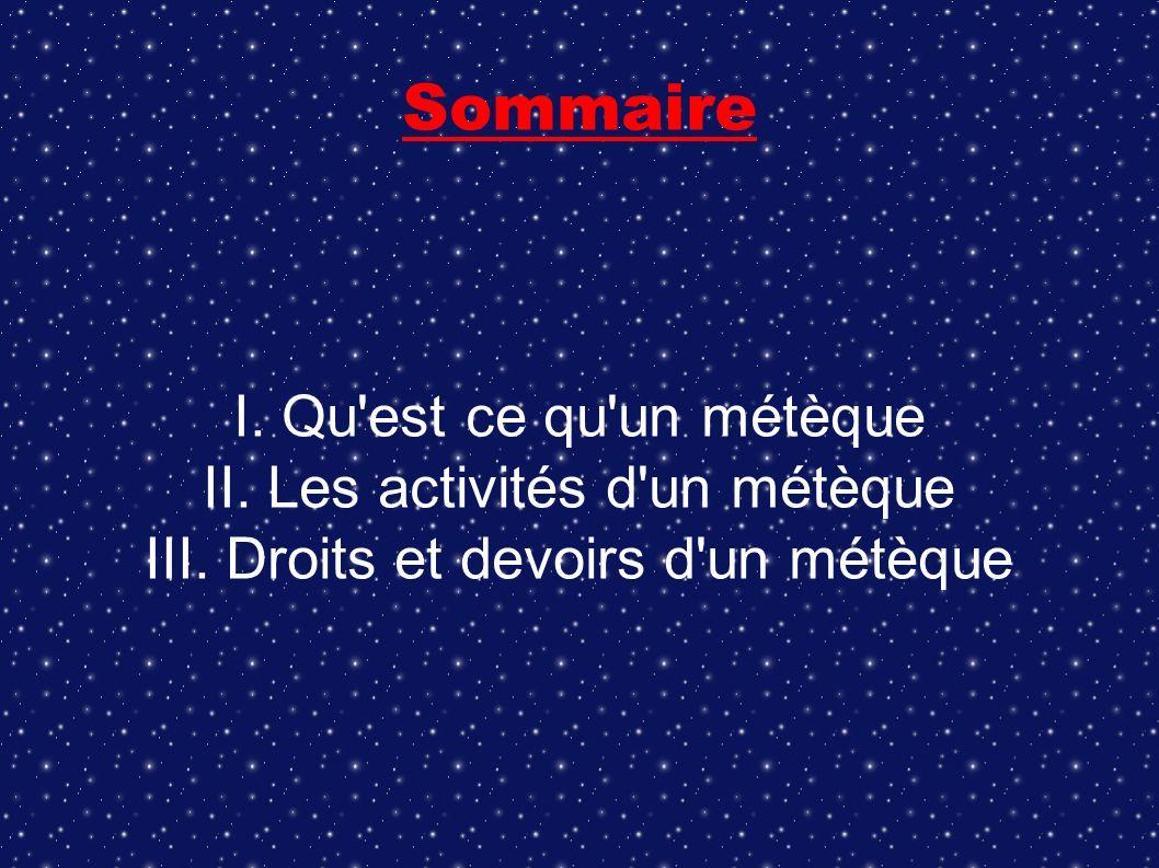 Sommaire I. Qu'est ce qu'un métèque II. Les activités d'un métèque III. Droits et devoirs d'un métèque