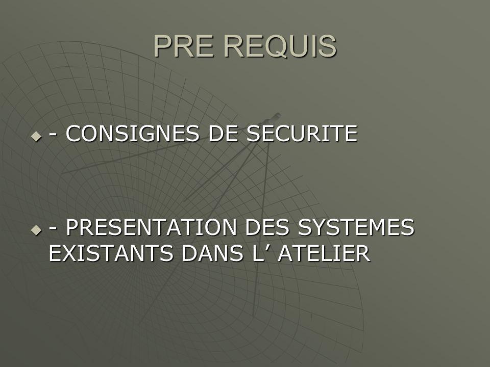 PRE REQUIS - CONSIGNES DE SECURITE - CONSIGNES DE SECURITE - PRESENTATION DES SYSTEMES EXISTANTS DANS L ATELIER - PRESENTATION DES SYSTEMES EXISTANTS