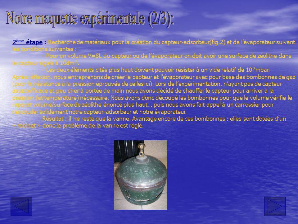 2 ème étape : Recherche de matériaux pour la création du capteur-adsorbeur(fig.2) et de lévaporateur suivant les conditions suivantes : - Pour un volu