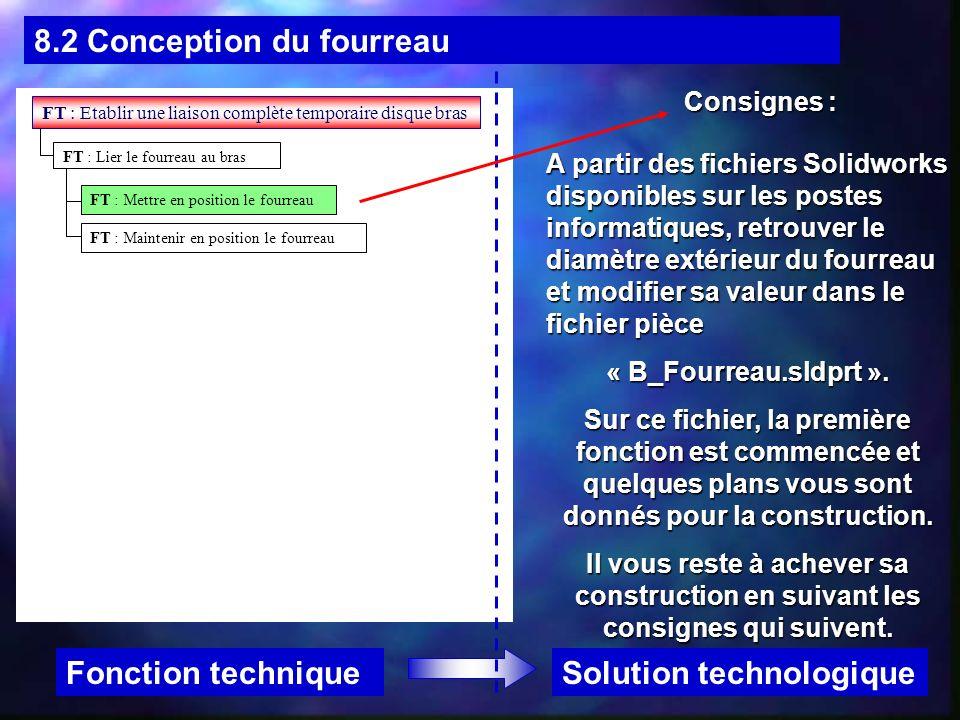 8.2 Conception du fourreau Solution technologiqueFonction technique Consignes : A partir des fichiers Solidworks disponibles sur les postes informatiq