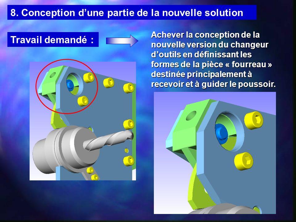 8.1.2 Analyse fonctionnelle du changeur doutils Sous-ensemble « Fourreau » constitué des pièces : Poussoir Vis de maintien Vis de pression Coussinet Vis de tarage Ressort
