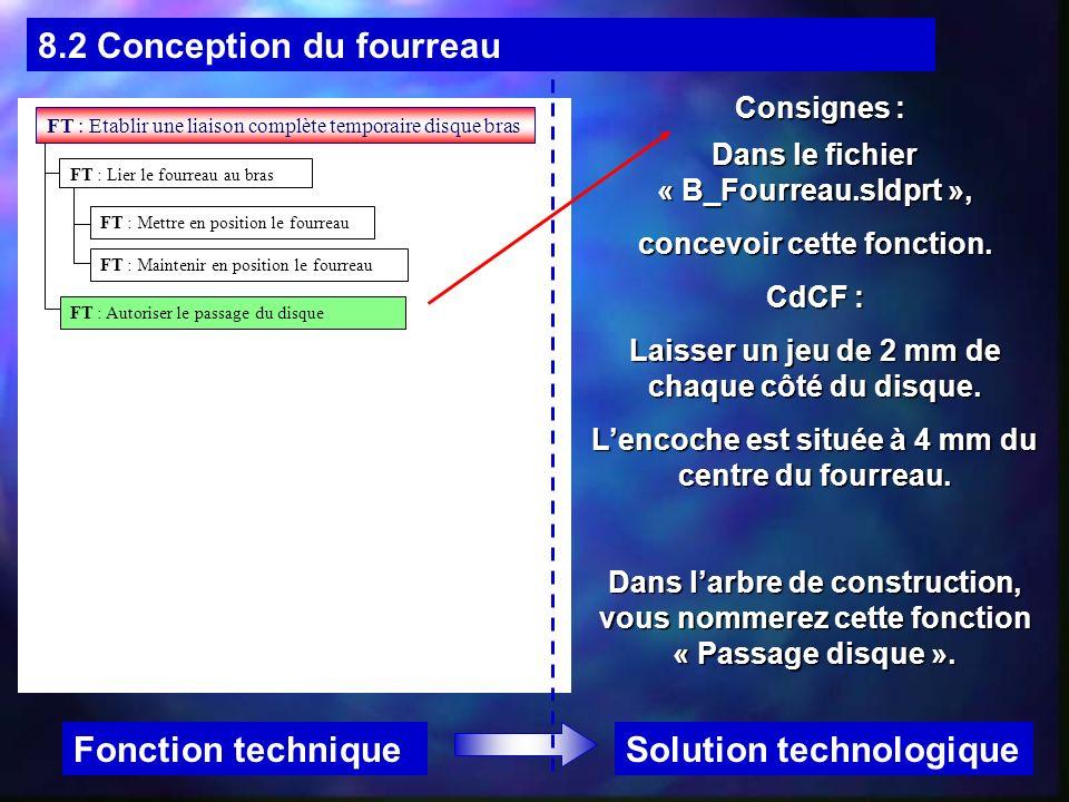 8.2 Conception du fourreau Solution technologiqueFonction technique Consignes : Dans le fichier « B_Fourreau.sldprt », concevoir cette fonction. CdCF