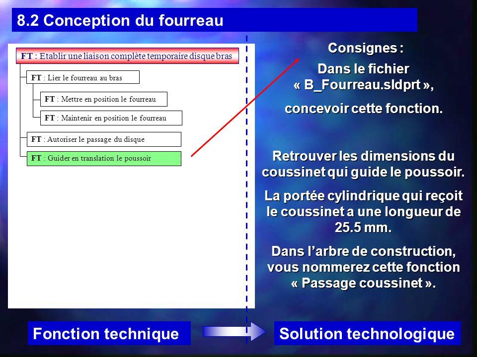 8.2 Conception du fourreau Solution technologiqueFonction technique Consignes : FT : Etablir une liaison complète temporaire disque bras FT : Mettre e