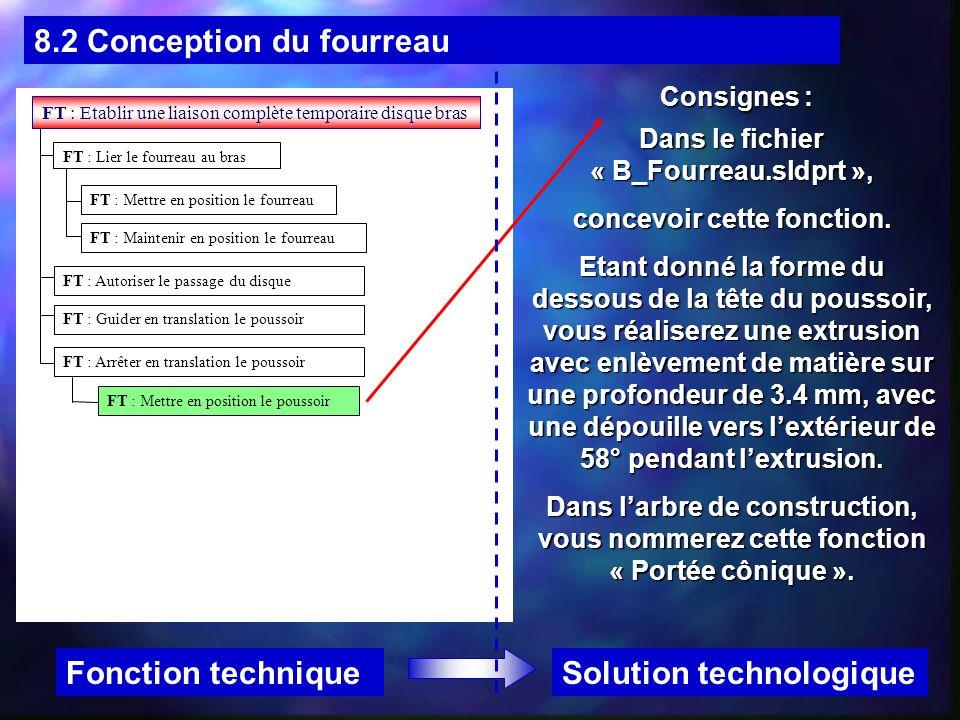 8.2 Conception du fourreau Solution technologiqueFonction technique Consignes : Dans le fichier « B_Fourreau.sldprt », concevoir cette fonction. Etant
