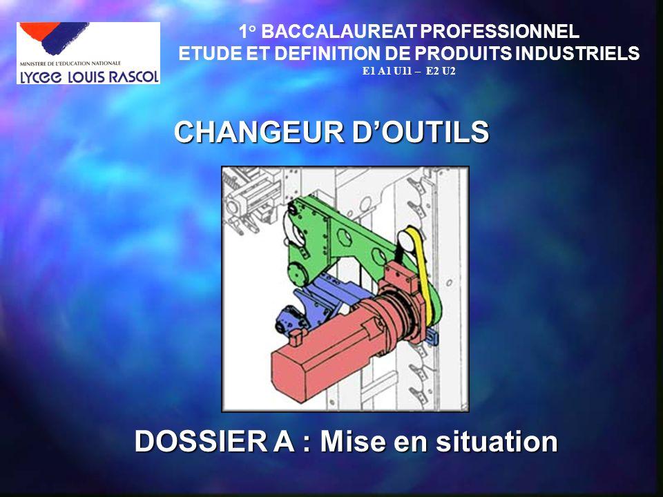 CHANGEUR DOUTILS 1° BACCALAUREAT PROFESSIONNEL ETUDE ET DEFINITION DE PRODUITS INDUSTRIELS E1 A1 U11 – E2 U2 DOSSIER A : Mise en situation