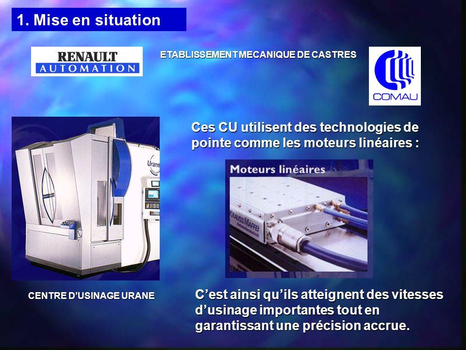ETABLISSEMENT MECANIQUE DE CASTRES Ces CU utilisent des technologies de pointe comme les moteurs linéaires : Cest ainsi quils atteignent des vitesses dusinage importantes tout en garantissant une précision accrue.