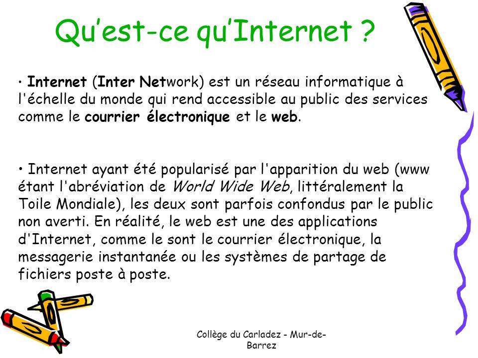 Collège du Carladez - Mur-de- Barrez Quest-ce quInternet ? Internet (Inter Network) est un réseau informatique à l'échelle du monde qui rend accessibl