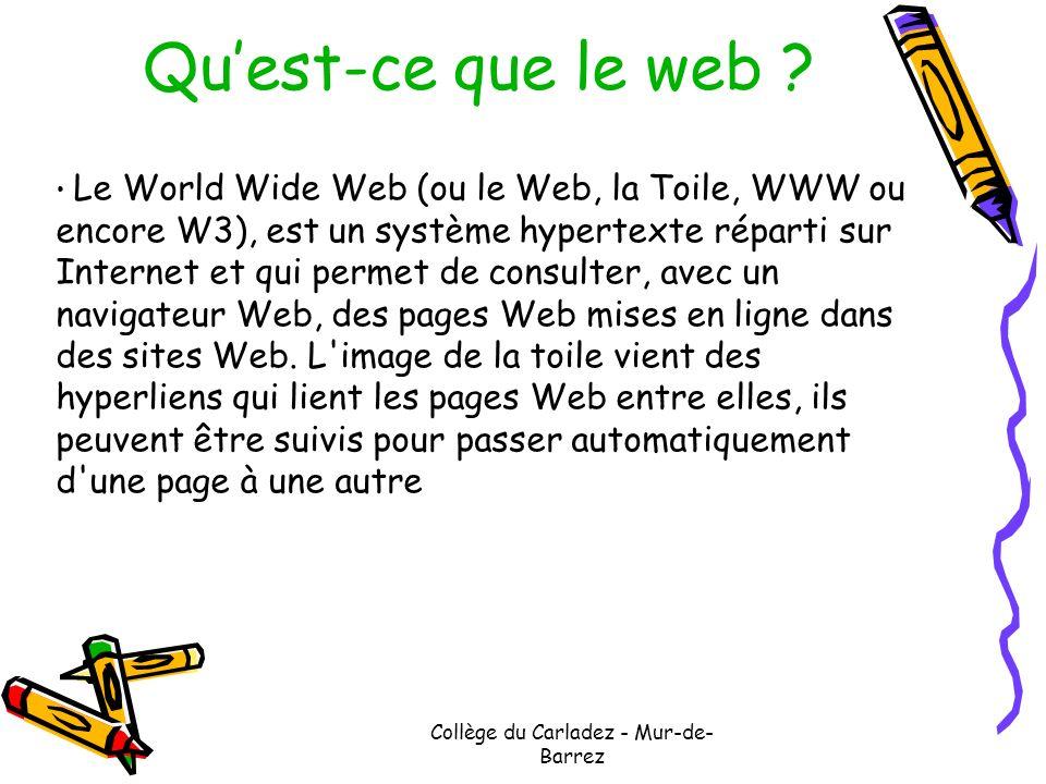 Collège du Carladez - Mur-de- Barrez Quest-ce que le web ? Le World Wide Web (ou le Web, la Toile, WWW ou encore W3), est un système hypertexte répart