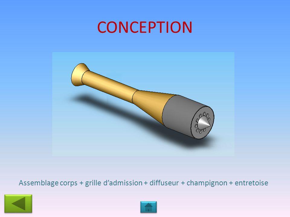 CONCEPTION Assemblage corps + grille dadmission + diffuseur + champignon + entretoise