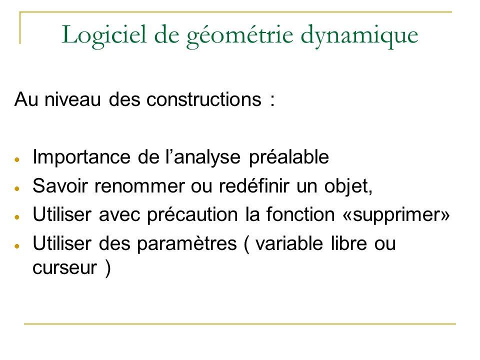 Logiciel de géométrie dynamique Au niveau des constructions : Importance de lanalyse préalable Savoir renommer ou redéfinir un objet, Utiliser avec précaution la fonction «supprimer» Utiliser des paramètres ( variable libre ou curseur )