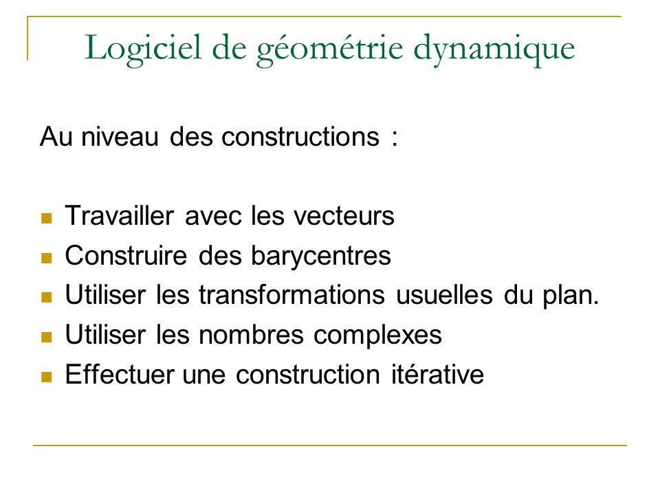 Logiciel de géométrie dynamique Autour des fonctions : Représenter une fonction Construire une tangente Définir et utiliser un point mobile sur une courbe Utiliser la fonction dérivée Approximer laire sous la courbe.