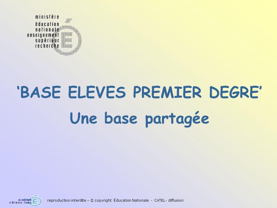 BASE ELEVES PREMIER DEGRE Une base partagée reproduction interdite – © copyright Éducation Nationale - CATEL- diffusion