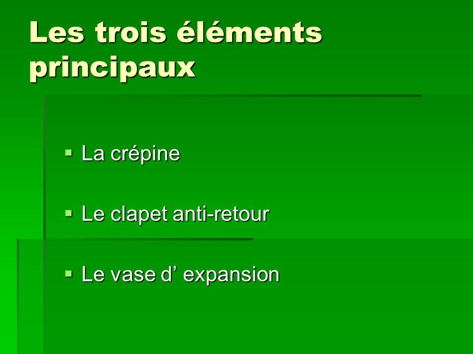 Les trois éléments principaux La crépine La crépine Le clapet anti-retour Le clapet anti-retour Le vase d expansion Le vase d expansion