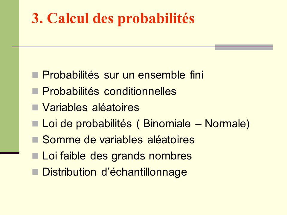 3. Calcul des probabilités Probabilités sur un ensemble fini Probabilités conditionnelles Variables aléatoires Loi de probabilités ( Binomiale – Norma