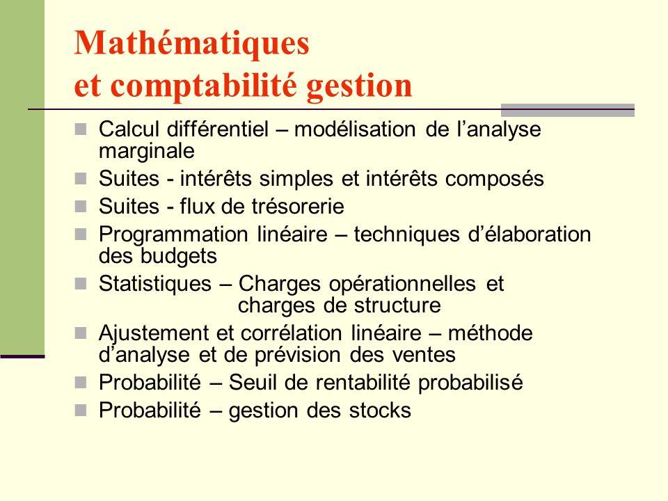 Mathématiques et comptabilité gestion Calcul différentiel – modélisation de lanalyse marginale Suites - intérêts simples et intérêts composés Suites -