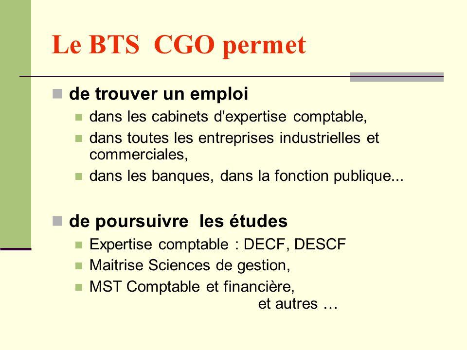 Le BTS CGO permet de trouver un emploi dans les cabinets d'expertise comptable, dans toutes les entreprises industrielles et commerciales, dans les ba