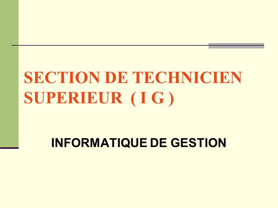 SECTION DE TECHNICIEN SUPERIEUR ( I G ) INFORMATIQUE DE GESTION
