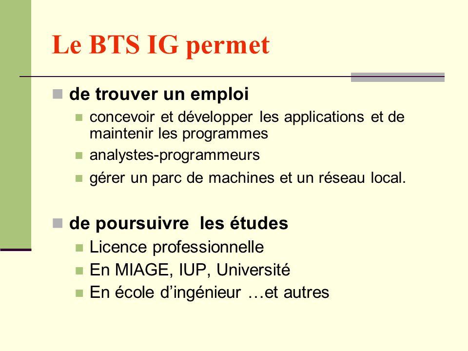 Le BTS IG permet de trouver un emploi concevoir et développer les applications et de maintenir les programmes analystes-programmeurs gérer un parc de