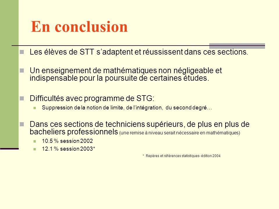 En conclusion Les élèves de STT sadaptent et réussissent dans ces sections. Un enseignement de mathématiques non négligeable et indispensable pour la