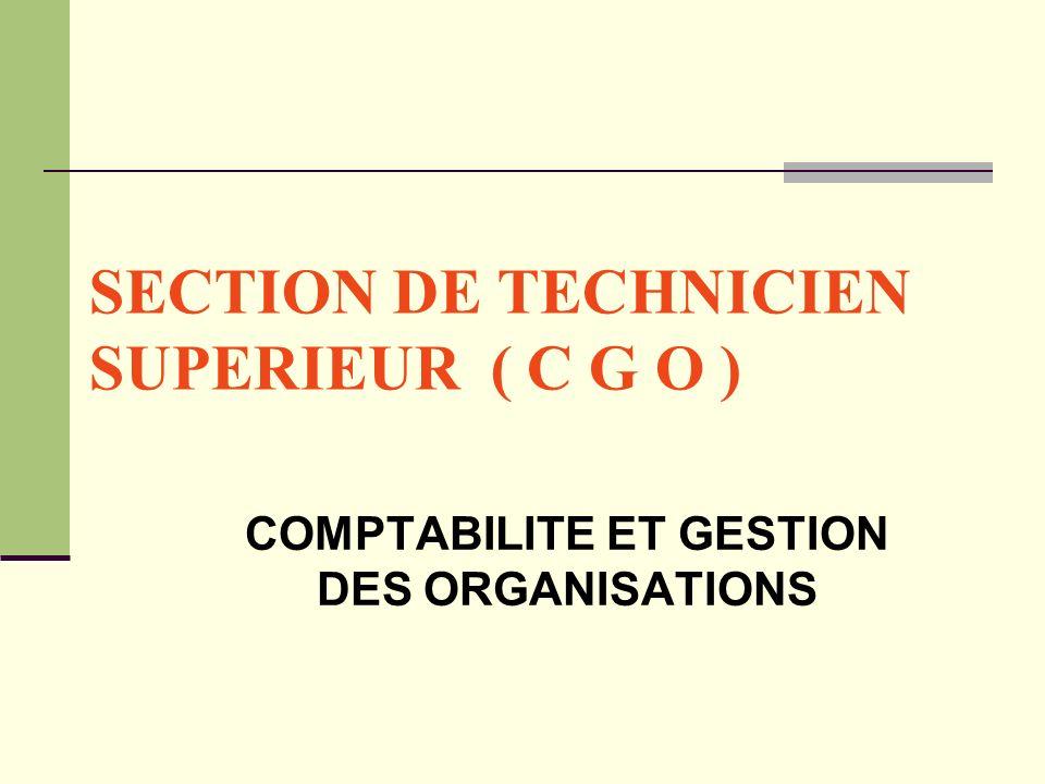 SECTION DE TECHNICIEN SUPERIEUR ( C G O ) COMPTABILITE ET GESTION DES ORGANISATIONS