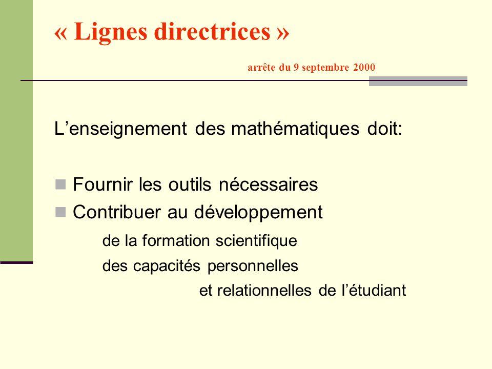 « Lignes directrices » arrête du 9 septembre 2000 Lenseignement des mathématiques doit: Fournir les outils nécessaires Contribuer au développement de
