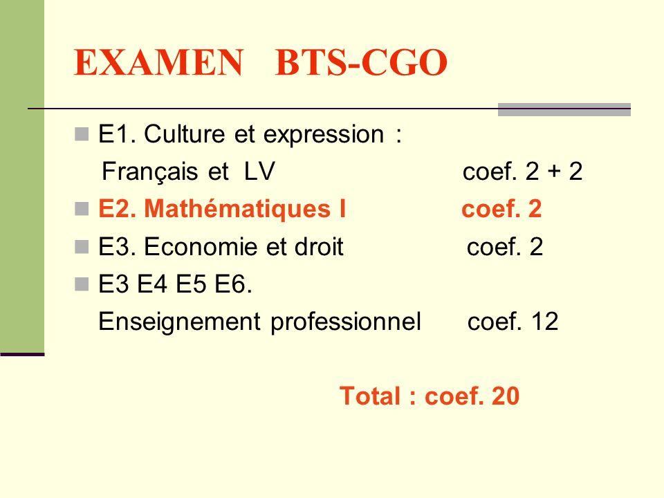EXAMEN BTS-CGO E1. Culture et expression : Français et LV coef. 2 + 2 E2. Mathématiques I coef. 2 E3. Economie et droit coef. 2 E3 E4 E5 E6. Enseignem