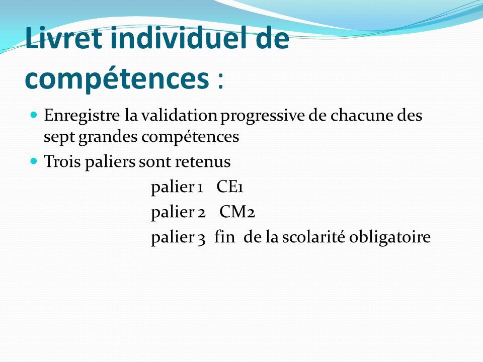 Enregistre la validation progressive de chacune des sept grandes compétences Trois paliers sont retenus palier 1 CE1 palier 2 CM2 palier 3 fin de la scolarité obligatoire Livret individuel de compétences :
