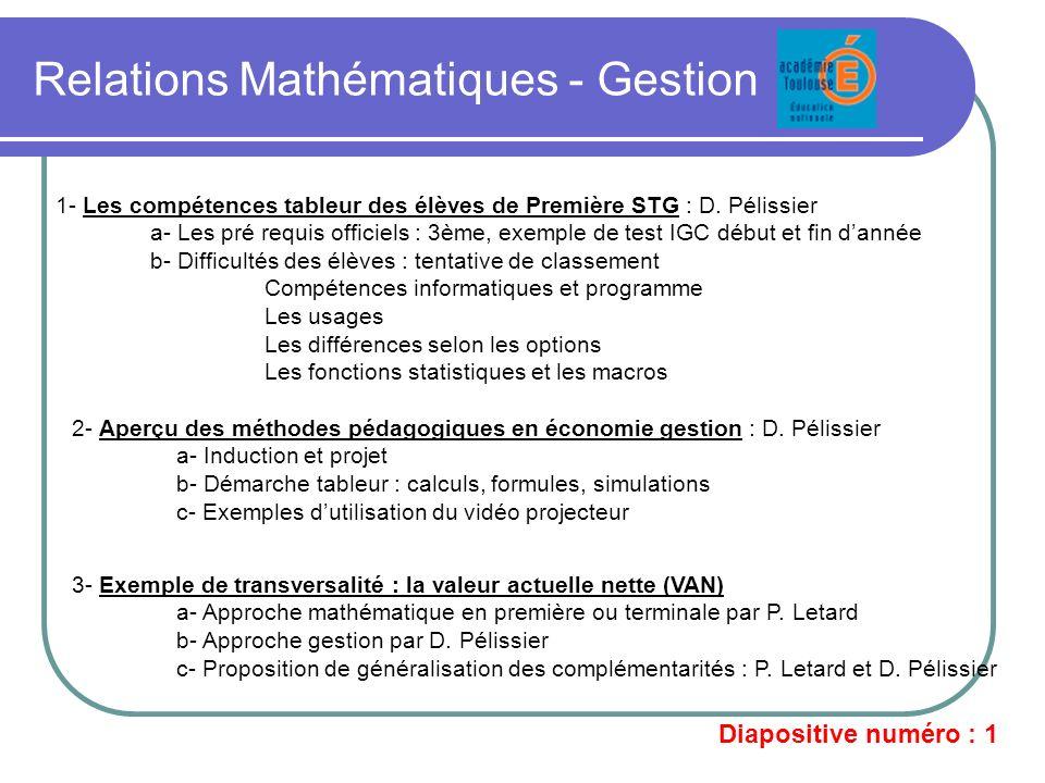 Relations Mathématiques - Gestion 1- Les compétences tableur des élèves de Première STG : D. Pélissier a- Les pré requis officiels : 3ème, exemple de