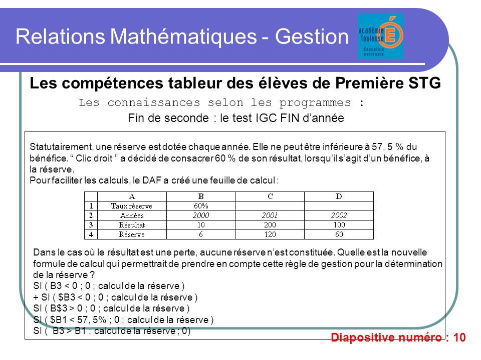 Relations Mathématiques - Gestion Les compétences tableur des élèves de Première STG Les connaissances selon les programmes : Fin de seconde : le test
