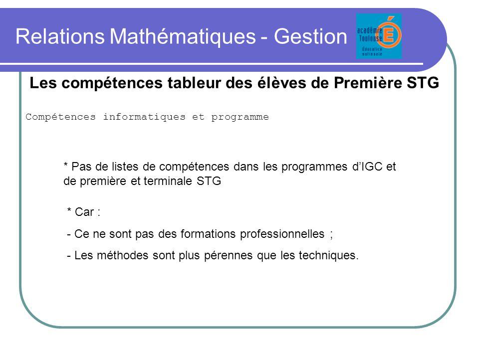 Relations Mathématiques - Gestion Compétences informatiques et programme Les compétences tableur des élèves de Première STG * Pas de listes de compéte