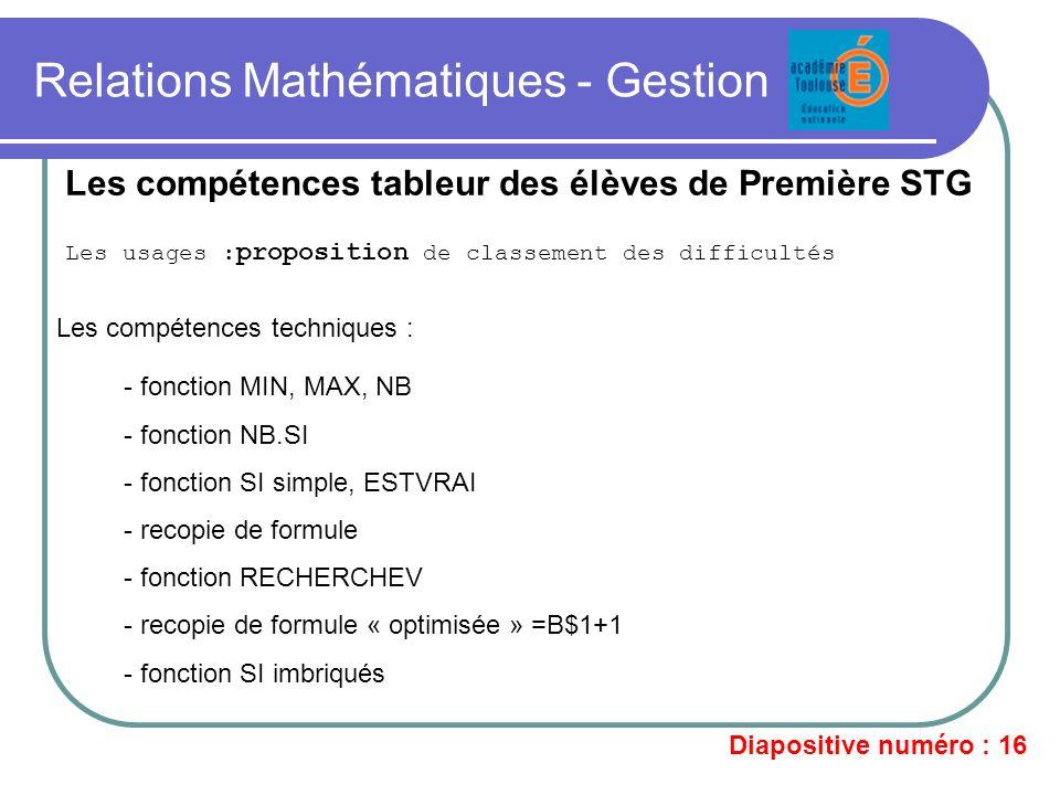 Relations Mathématiques - Gestion Les usages : proposition de classement des difficultés Les compétences tableur des élèves de Première STG - fonction