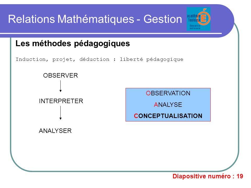 Relations Mathématiques - Gestion Induction, projet, déduction : liberté pédagogique Les méthodes pédagogiques OBSERVER INTERPRETER ANALYSER OBSERVATI