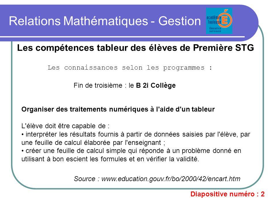Relations Mathématiques - Gestion Les compétences tableur des élèves de Première STG Les connaissances selon les programmes : Fin de troisième : le B
