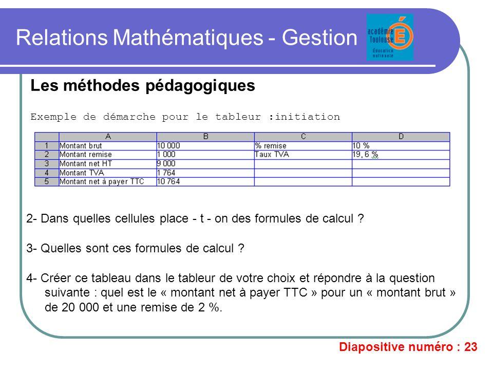 Relations Mathématiques - Gestion Exemple de démarche pour le tableur :initiation Les méthodes pédagogiques 2- Dans quelles cellules place - t - on de