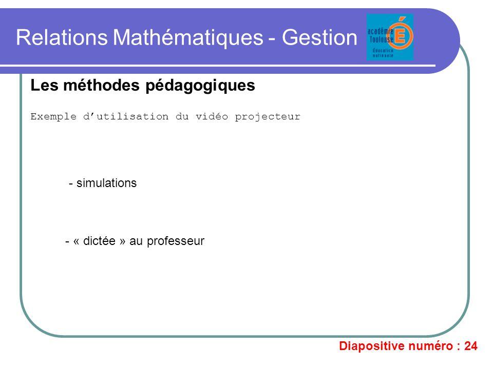 Relations Mathématiques - Gestion Exemple dutilisation du vidéo projecteur Les méthodes pédagogiques - simulations - « dictée » au professeur Diaposit